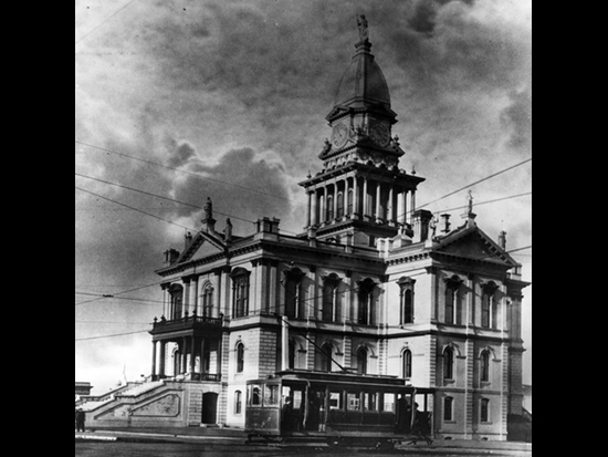 Completed 1889. Thirteen zinc statues adorned the perimeter of the roof and the tower of this grand Italianate building in Eureka. Minerva, the Roman goddess of wisdom, was placed at the top of the tower, surrounded by four statues of Justice and others representing Flora, Ceres, Fortuna, and Juno. Minerva tilted in the 1906 earthquake, after which the statues were removed. The courthouse survived a fire in 1924, but another quake in 1954 cracked the building and the courthouse was vacated. In 1956, the condemned courthouse was demolished to make room for a more modern facility. Courtesy Humboldt County Historical Society
