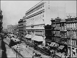 The Emporium Building, 825 Market Street, San Francisco. The court was located here from 1896 to 1906, when it was evicted by the earthquake.