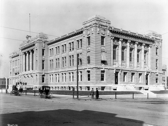 "Completed 1910. Sacramento's first courthouse, built in 1851, became the Capitol in 1854 and was destroyed in a fire that same year. After the county outgrew its second courthouse, this three-story granite-and-marble county center was ""built to last forever"" but was abandoned in 1965 for a more modern facility and demolished in 1970. A new county jail was constructed on the site in 1989. Courtesy California State Library"
