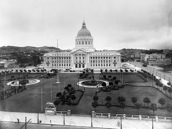 Completed 1915. The great earthquake and fire of 1906 demolished both San Francisco's Hall of Justice and City Hall, where the civil courts were located. A new Hall of Justice was completed on Portsmouth Square near Chinatown in 1911, while the civil courts returned to the new City Hall, now part of a grand Civic Center complex, in 1916. The monumental beaux-arts structure was damaged in the Loma Prieta earthquake of 1989 and closed for retrofitting. The civil courts returned to the newly built Civic Center Courthouse adjacent to City Hall in December 1997. City Hall was completed in late 1998 and reopened to the public in January 1999. The Civic Center is listed on the National Register of Historic Places. Courtesy Bancroft Library