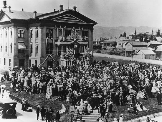 "Completed 1873. San Luis Obispo officials agreed to construct a new courthouse after the district attorney pronounced the adobe used for county business since 1851 ""a marvel of repulsiveness, and the courtroom with its wretched appointment a disgrace to the county."" This classic Greek Revival building (shown during a Fourth of July celebration) was welcomed by new residents as a break from the colonial past and became the center of the growing town. The courthouse was demolished in 1940. Courtesy San Luis Obispo Historical Museum and State Bar of California"
