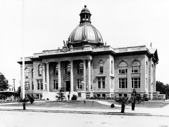Completed 1910. The fourth and grandest of San Mateo's courthouses was built on the site of the second and third, which were destroyed in the 1906 earthquake. It was here in Redwood City in 1931 that the colorful jurist George H. Buck decided the Flood Estate case, a battle over the estate of a wealthy financier and philanthropist that gained national attention. The Roman Renaissance building was turned over to the San Mateo County Historical Association in 1997 and is listed on the National Register of Historic Places. Courtesy Redwood City Public Library