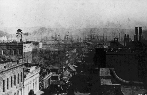 Clay Street (1874-1878. 1878-1881) The Court was located at 640 Clay Street — on the left (north) side of this view, most likely in (or to the bay side of) the 'Union Book Store' building.