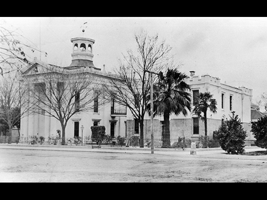 Completed 1861. Colusa's courthouse has served continuously as the seat of justice and government in the county since 1861 and is one of California's oldest working courthouses. Five of the six lots for the courthouse site were donated by Colonel Charles D. Semple, who erroneously expected that county supervisors would forgive his tax bill in exchange for the gift. In the entrance hall of the Classical Revival building stands a statue of George Washington, a gift to the county recognizing the donations of local citizens to the construction fund for the Washington Monument in the nation's capital. Courtesy Meriam Library, California State University, Chico, and Thelma White