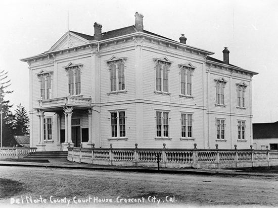 Completed 1885. Crescent City was named the county seat when Del Norte was created from the now-defunct Klamath County in 1857. Years later, in the 1883 election, residents approved bonds for a courthouse in a vote of 176 for, 84 against. Local historians say that it was here in the 1930s and 1940s that the unsuccessful movement to create the State of Jefferson, with a local judge as its first governor, was organized. The courthouse was destroyed by fire in 1948, and a new courthouse was built across the street from the original location. Courtesy Del Norte County Historical Society
