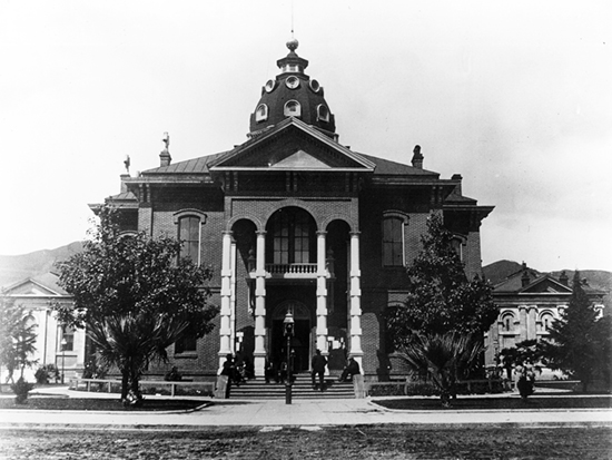 Completed 1873. After winning out over rival cities for designation as the county seat, Ukiah built its first courthouse, a simple two-story brick building, in 1860. As the county prospered, officials commissioned a much grander building with two-story columns and a dome. Among the court's more dramatic trials was one in 1905 during which a man brought before the court on an insanity charge apparently was not searched and fatally shot the sheriff. The courthouse was demolished in 1950 to make way for a more modern building. Courtesy Callie Coombs, Mendocino County Museum