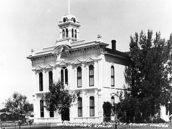 Completed 1880. After a survey of state boundaries, in 1863 citizens of Mono were alarmed to learn that their county seat, Aurora, lay three miles inside the Territory of Nevada. It was reported that upon hearing the news, the presiding judge immediately closed the court and announced that he would try no further cases there. Voters selected Bridgeport as the new center of government and built a landmark Italianate building that remains in use as one of the state's oldest operating courthouses. The courthouse is listed on the National Register of Historic Places. Courtesy Eastern California Museum