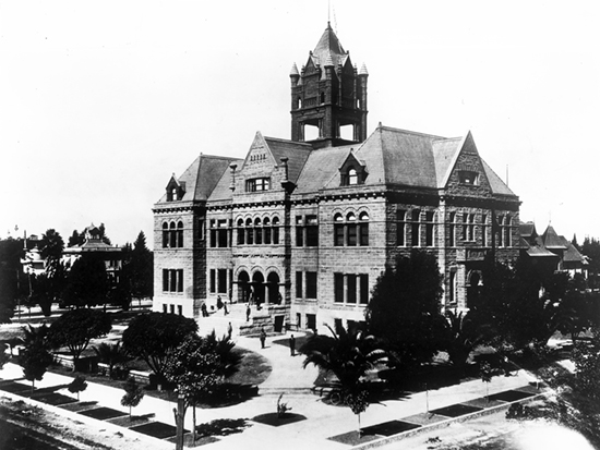 Completed 1901. One of Southern California's oldest court buildings, the Old Orange County Courthouse is also one of the state's few surviving Romanesque Revival-style buildings. The courts occupied the building until 1969, when they moved to more modern facilities on Civic Center Drive. Restoration of the old courthouse began in 1983 and was completed in 1992. The building now houses the Orange County History Center as well as county offices and is listed on the National Register of Historic Places. Courtesy Seaver Center for Western History Research, Natural History Museum of Los Angeles County