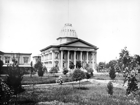 Completed 1868. During California's first 15 years of statehood, Santa Clara had no fewer than five courthouses, beginning with an adobe juzgado, or Mexican courthouse, and ending with this Roman Corinthian landmark on St. James Park. The building withstood numerous earthquakes and fires, including a disastrous blaze in 1931 that gutted the building. Damage sustained in the 1989 Loma Prieta earthquake nearly led to its demolition, but after a $12.4 million seismic retrofit and restoration project the building was reopened in 1994 and is still in use today. Courtesy County of Santa Clara