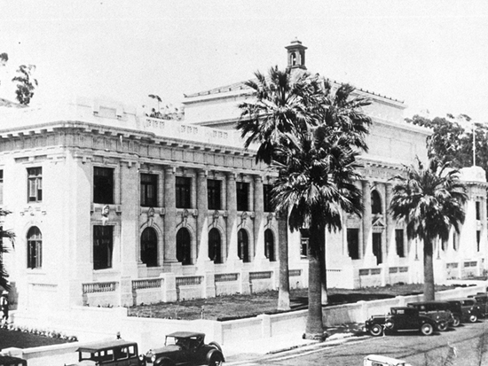 Completed 1913. The second of Ventura County's courthouses was turned over to the City of San Buenaventura for use as its city hall after construction of a new county center in 1978. This ornate building, which features a series of gargoyle-like monks' faces along the façade and is listed on the National Register of Historic Places, is dramatically situated on a hill with full views of the city and the Channel Islands. One of the most celebrated defense attorneys who practiced at the courthouse was Erle Stanley Gardner, the creator of the Perry Mason mystery series, who worked here in the 1920s and 1930s. Courtesy Ventura County Historical Society