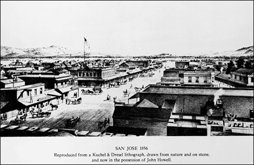 San José (1854) The Court was located on the second story of the brick structure at the corner of Pacheco and Santa Clara Streets, directly across from the Washington Hotel, on the right side of this view.