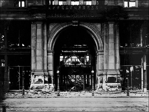 The Emporium Building entrance after the earthquake and fire.
